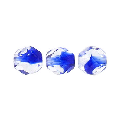 Fire polished beads, 8mm size, crystal/cobalt blue