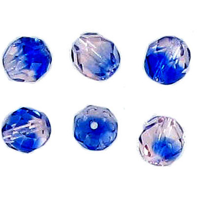 Fire polished Czech beads, transparent blue pink 2-tone, 8mm