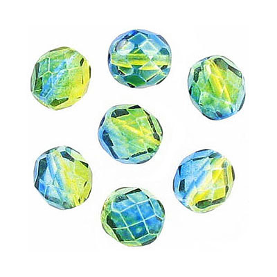 Fire polished Czech beads, green blue, 8mm
