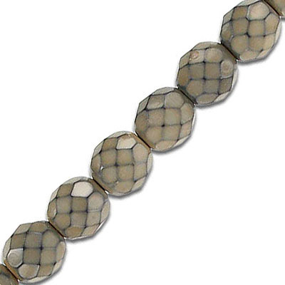 Fire polished beads, 8mm, nude snake pattern, pack of 5 strands, 7 inch each strand