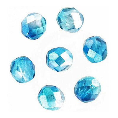 Fire polished Czech beads, crystal aqua, 8mm