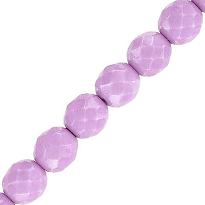 Fire polished beads, 8mm, vividi lavender snake, pack of 5 strands, 7 inch each strand