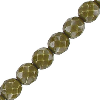 Fire polished beads, 8mm, vividi olive green, 7 inch strands
