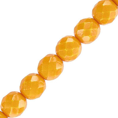 Fire polished beads, 8mm, vividi mustard snake, pack of 5 strands, 7 inch each strand