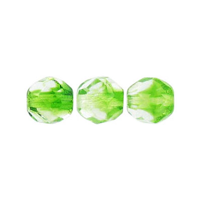 Fire polished beads, 8mm size, crystal/green