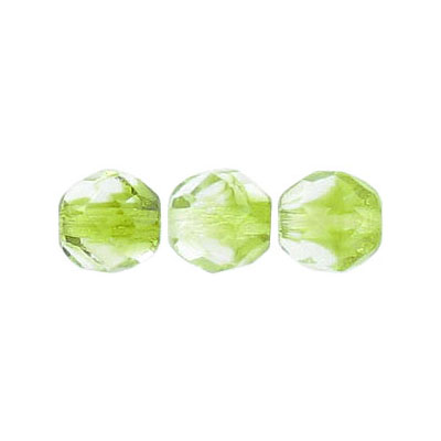 Fire polished beads, 8mm size, crystal/olivine