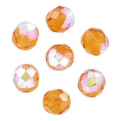 Fire polished Czech beads, AB topaz, 8mm