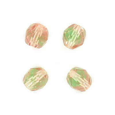 Fire polished Czech beads, peridot rosaline, 8mm