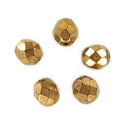 Fire polished Czech beads, bronze, 8mm