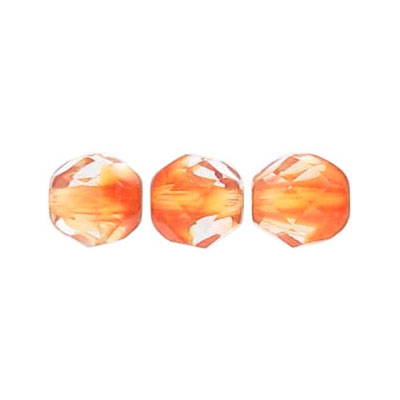 Fire polished beads, 8mm size, crystal/orange