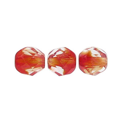 Fire polished beads, 8mm size, crystal/siam ruby