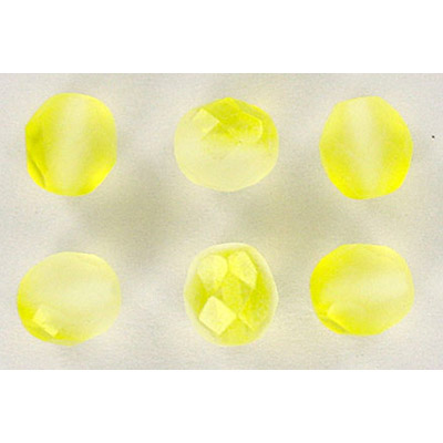 Fire polished Czech beads, matt crystal yellow, 8mm