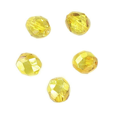 Fire polished Czech beads, citrine cal, 8mm