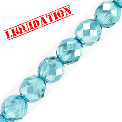 Fire polished faceted glass beads, 8mm, crystal zircon shadow, 50 beads per strand, 16 inch strand