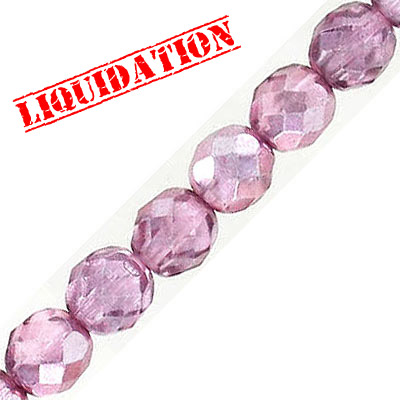 Fire polished faceted glass beads, 8mm, crystal rose shadow, 50 beads per strand, 16 inch strand