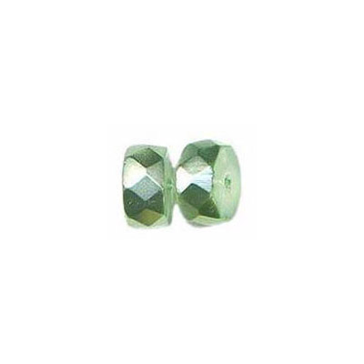 Fire polished Czech beads, pearlized rondelle mint green, 8x4mm