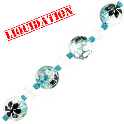 Glass beads, 14mm, round, hand painted, turquoise white black floral, 7 inch strand, 7 beads