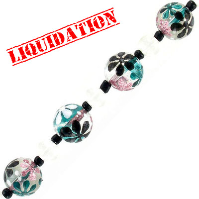Glass beads, 14mm, round, hand painted, rose white turquoise floral, 7 inch strand, 7 beads