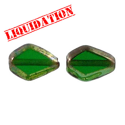 Glass bead India, half gold foiled green