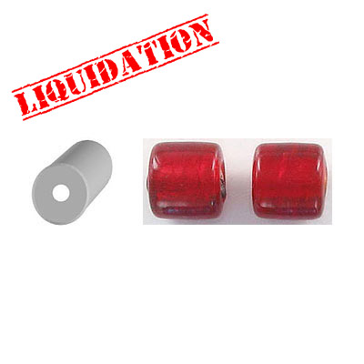 Glass bead India, 10mm, silver lined, red