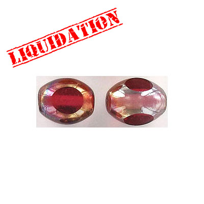 Glass bead India, 9x11mm, half gold foiled pink