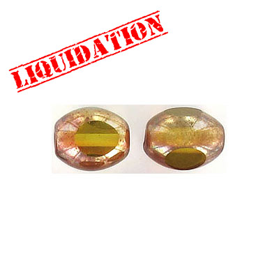 Glass bead India, 9x11mm, half gold foiled olive green