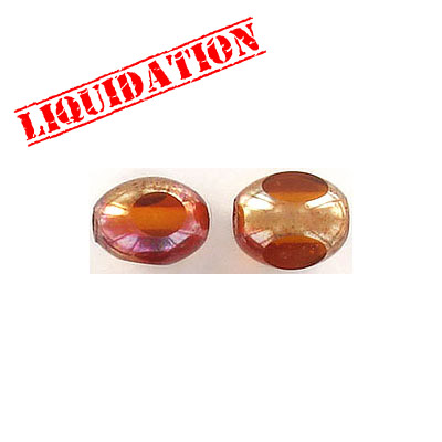 Glass bead India, 9x11mm, half gold foiled light brown