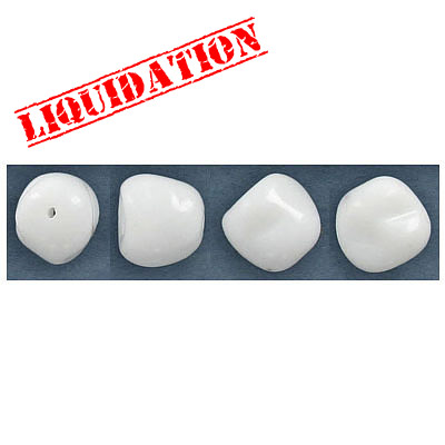 Glass beads, 11mm, white