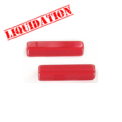 Glass beads, 6x25mm, pentagon cylinder, red