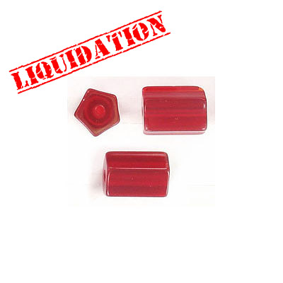 Glass beads, 9x12mm, pentagon cylinder, red