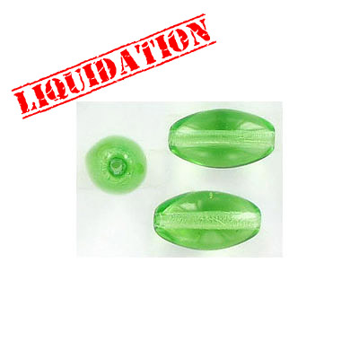 Glass beads, 14x7mm barrel, green
