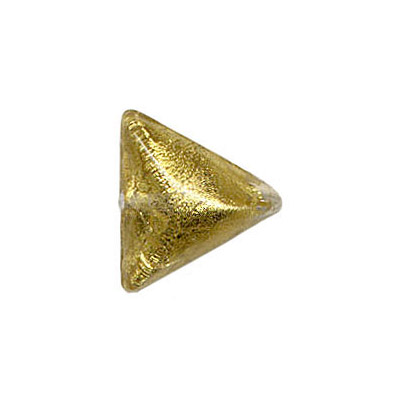 Lampwork glass bead triangle 14mm gold foiled