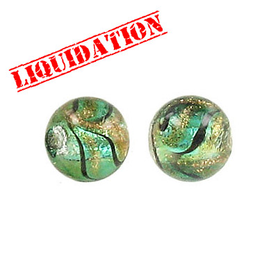 Lampwork glass bead foil round 10mm sea green