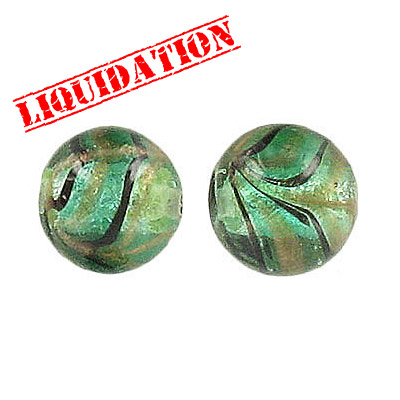Lampwork glass bead foil round 12mm sea green