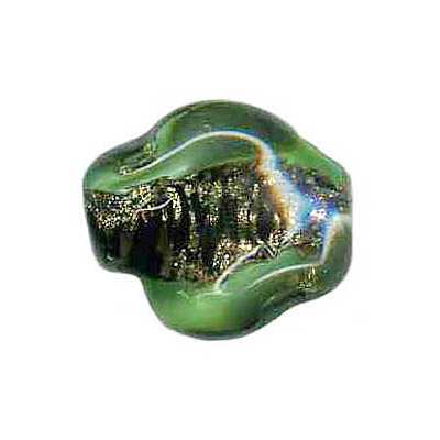 Lampwork glass bead foil nugget 20x14mm green