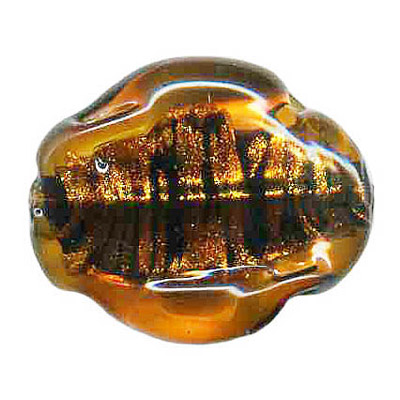 Lampwork glass bead foil large nugget 30x17mm topaz