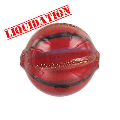 Lampwork glass bead blown round 22mm red