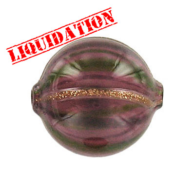 Lampwork glass bead blown round 22mm purple