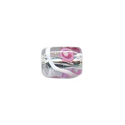 Lampwork glass bead foil cylinder 11x11mm clear
