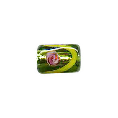Lampwork glass bead foil cylinder 11x11mm green olivine