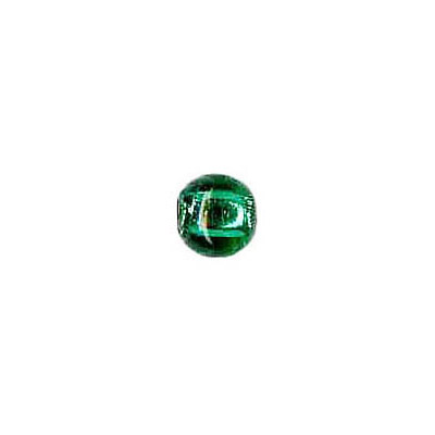 Lampwork glass bead foil round 6mm green emerald
