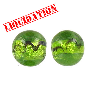 Lampwork glass bead foil round 12mm light  green
