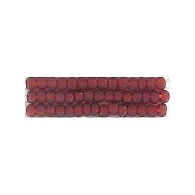 Seed beads, natural transparent   bead matt red