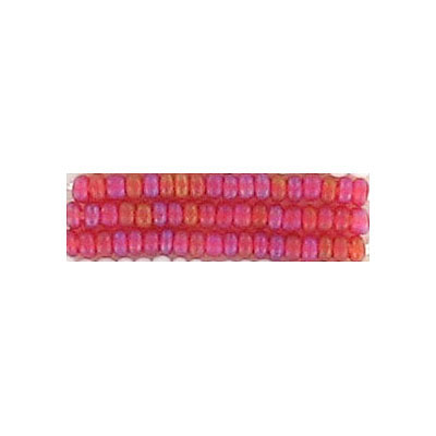 Seed beads, rocaille matt rainbow red