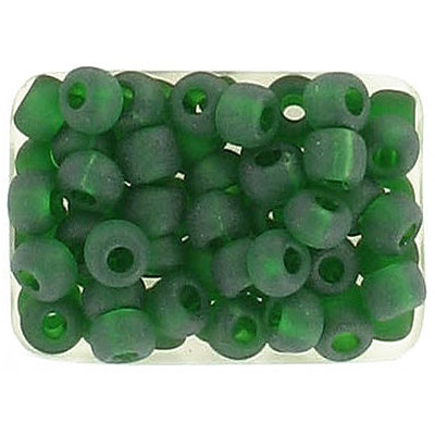 Seed beads, rocaille transparent green matt natural color