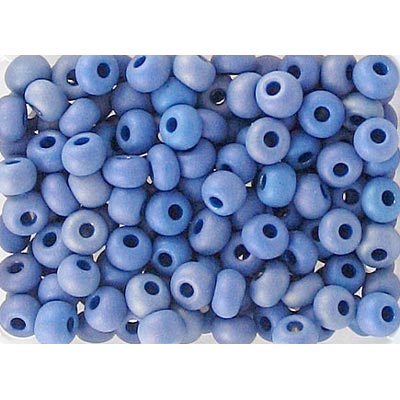 Seed beads, rocailles opaque blue matt ab