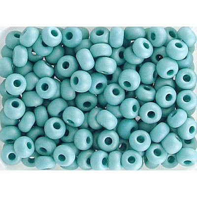 Seed beads, rocailles opaque medium turquoise matt ab