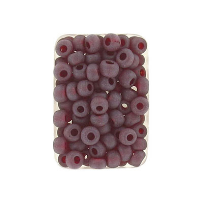 Seed beads, rocaille transparent  bead matt red