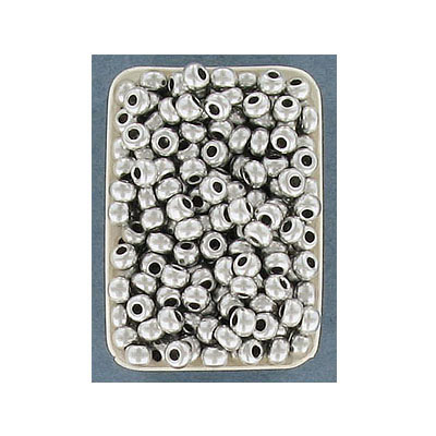 Seed beads, rocaille, size 8/0, loose, matt silver
