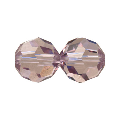 Czech machine cut glass beads, 10mm, faceted round, light amethyst